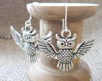 Silver flying owl dangle earrings - drops dangles owls birds of prey