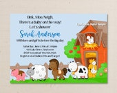 Farm Animals Baby Shower Invitation - You Print As Many Copies as You Need