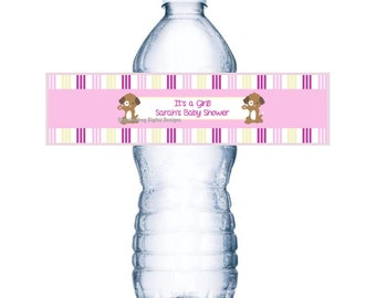 Puppy Water Bottle Label - Great for Baby Shower or Birthday - You Print