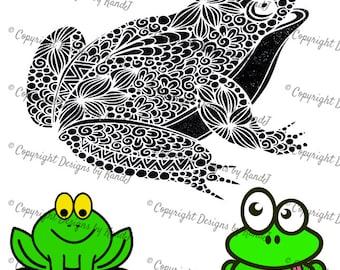 Frogs set of 3 SVG decorative frog SVG Fancy frog svg  Digital cut file  SVG- Instant Download