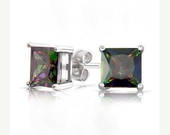 Princess Cut Mystic Fire Topaz Stud Earrings, Mystic Topaz  Earrings, Gifts for Her, Rainbow Topaz Stud Earrings, Silver Stud Earrings