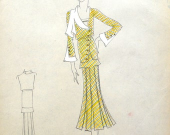 Edith Sparag Original Sketch/ New York Fashion Designer / 1930s