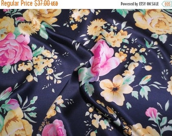 ON SALE Lovely Pink and Yellow on Navy Pure Silk Charmeuse Fabric--One Yard