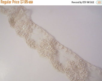 ON SALE Ivory Single Edge Re-Embroidered Beaded Lace Trim--One Yard