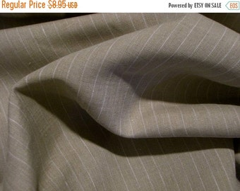 ON SALE SPECIAL--Beige and White Pinstripe Pure Linen Fabric--One Yard