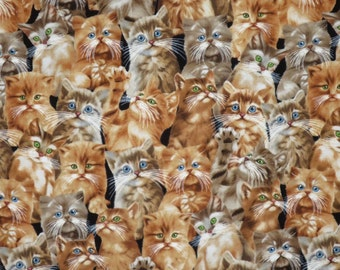 Adorable Packed Kitten Faces Print Pure Cotton Fabrics--One Yard
