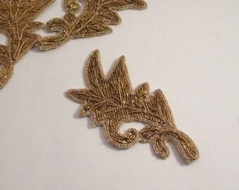 Gold Boullion Embroidered Leaf Design Applique--One Piece