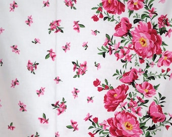 Beautiful Pink on White Cabbage Rose Border Print Pure Cotton Fabric--One Yard