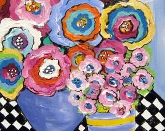 Happy Flowers II Original Painting 12 x 16 Art by Elaine Cory