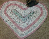 "Crocheted Heart rag rug - 32"" x 29"" - Shabby Chic -Bathroom Rug -Kitchen Rug - Country Rug - Cabin - Machine Washable n Dryable - Reversible"