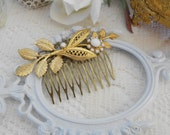 Gold Leaf Hair Comb, Floral Hair Comb, Art Deco Hair Comb, Art Nouveau Hair Comb, Hair Jewlery, Vintage Wedding, Gold and White Comb