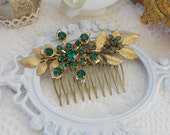 Emerald Hair Comb, Art Deco Hair Comb, Assemblage Hair Comb, Gold Leaf Hair Comb, Bridal Hair Comb, Leaf Hair Slide, Rustic Garden Wedding