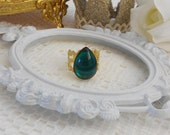 Emerald Ring, Emerald Adjustable Ring, Filigree Ring, Old Hollywood, Green Crystal Ring, Green Cocktail Ring, Estate Jewelry, Lace Ring
