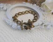 Antique Brass Bracelet, Vintage Style Chain Bracelet, Layering Bracelet, Flower Bracelet, Simple Bracelet, Double Chain Link Braclet, Bronze