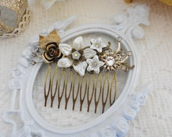 Bridal Hair Comb, Ivory Pearl Comb, Rhinestone Comb, Floral Hair Comb, Assemblage Hair Jewelry, Collage Hair Comb, Clear Swarovski Crystal