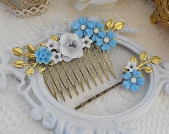 Bridal Hair Comb, Floral Hair Comb, Bridal Headpiece Set, Something Blue, Wedding Hair Comb, Bridal Hair Pin, Hair Pin and Comb Set