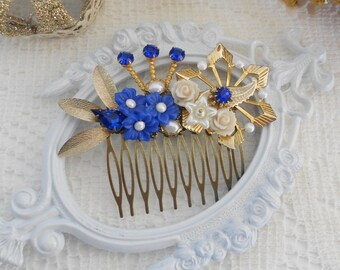 Sapphire Hair Comb, Floral Hair Comb, Blue Hair Comb, Something Blue, Assemblage Hair Comb, Collage Hair Comb, Crystal Bridal Comb