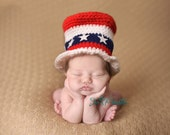 Newborn Fourth Of July top Hat.. newborn hat... baby hat.. Great Photography Prop ..Newborn photo prop..20% off with code VALEN1 at checkout