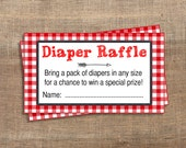 Red BBQ Diaper Raffle Tickets, Red Gingham Baby Shower, Printable, Bring a Pack of Diapers, Invite Insert, INSTANT DOWNLOAD