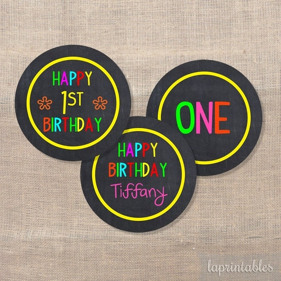 birthday cupcake toppers neon chalkboard birthday