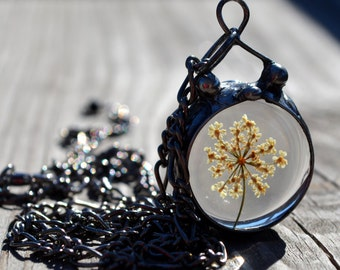 Queen Annes Lace Necklace, Nature Jewelry Necklace, Nature Lover Gift, Dried Queen Annes Lace, Flower Jewelry (2501)