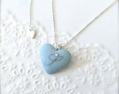 "Personalized Initial Necklace ""S"" Blue Porcelain Heart With 23k platinum Initial with Swarovski Crystal, Sterling Silver Porcelain Necklace"