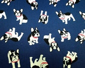 "French bulldogs - 4 colors -1 yard - cotton linen,dog fabric, Check out with code ""5YEAR"" to save 20% off"