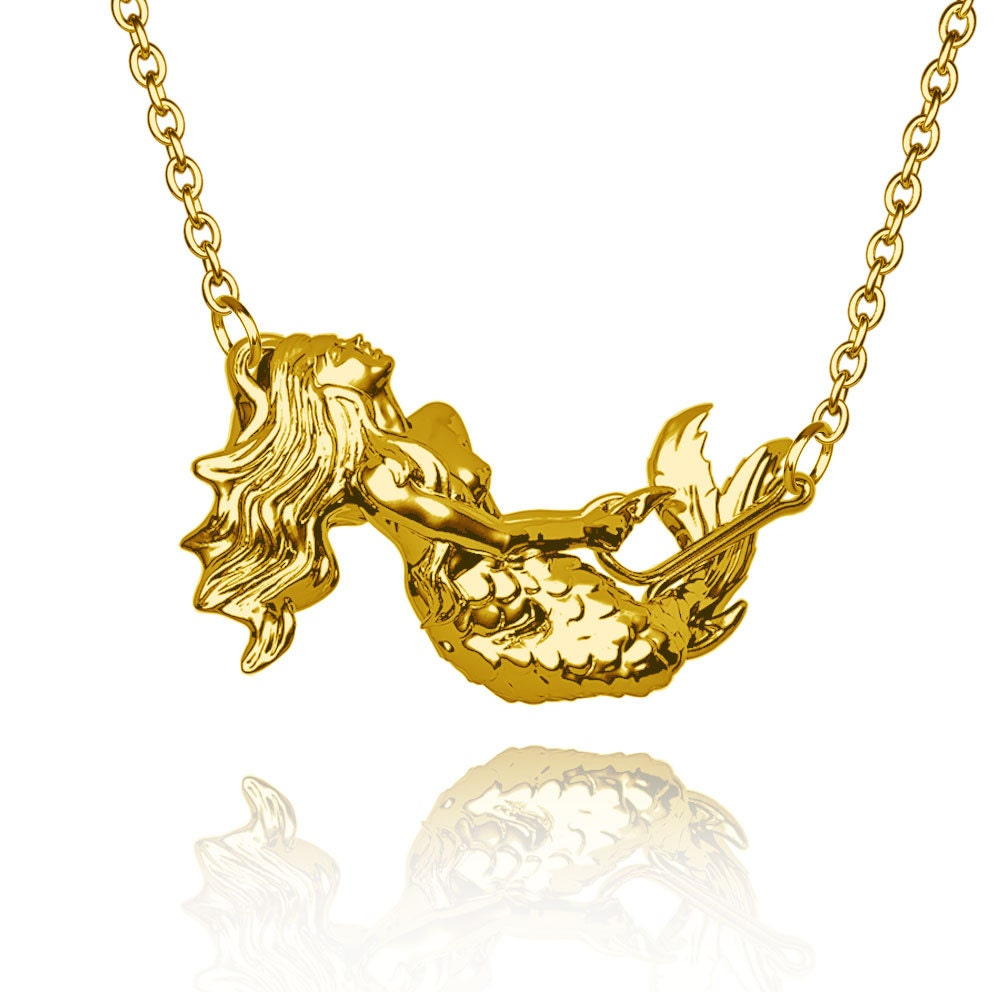 18k solid gold mermaid pendant 39 caught in fish hook 39 for Gold fish hook pendant
