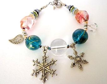 OOAK Bracelet Snowflake, Snowflake Charm, Leaf Charm, Silver Plated, Crystal Beads, Glass Beads, Upcycled