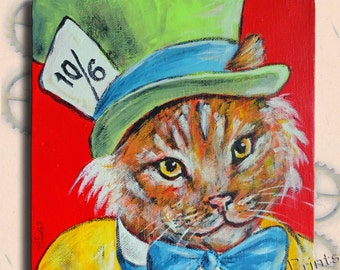 Mad Catter Cat Original Art Acrylic Painting on Canvas