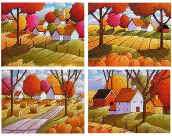 Fall 5x7 Art Print Set of 4 Folk Art Thanksgiving Pumpkin Landscape Giclee Autumn Artwork Country Cottage Art Collection Decor by Horvath