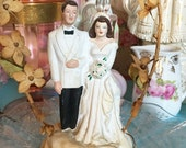 1940's Bride and Groom Wedding Cake Topper