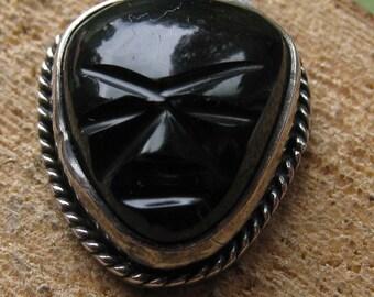 Vintage Sterling Silver Black Onyx Scarab Pendant Ladies Women's Sterling Pendant