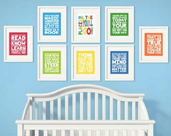 Custom Colors | Dr. Seuss Quotes | Set of 8 | Nursery Art | Wall Art | Nursery Decor | Nursery Quote | 5x7 | 8x10 | 11x14
