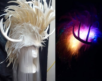 White Feather Headdress with Rainbow Lights, Antler and synthetic hair