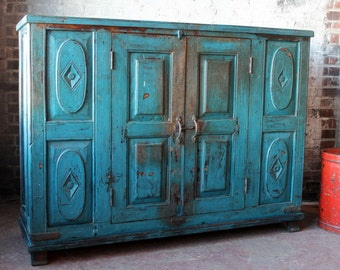 Antique Indian Sideboard Media Console TV Stand Buffet Bright Blue Chippy Paint Industrial Farm Chic Boho Bar Cabinet Moroccan Mediterranean