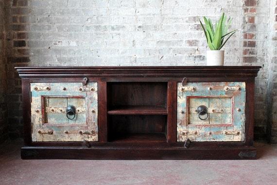 Reclaimed Antique Door Media Console TV Stand Reclaimed