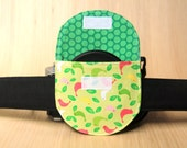 Camera Lens Cap Pocket - holds up to 84mm - Pink and Green Birds - Ready to Ship
