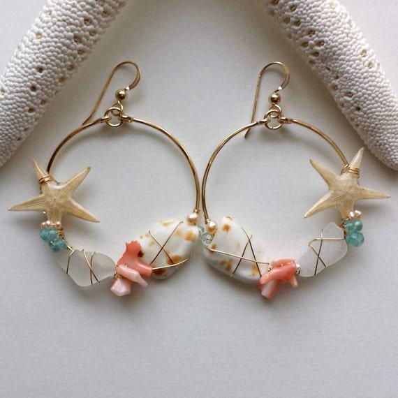Starfish Hoop Earrings, Sea Glass Earrings, Real Starfish Earrings, Shell Hoops, Beach Hoop Earrings, Boho Hoops, Hammered Gold Hoops
