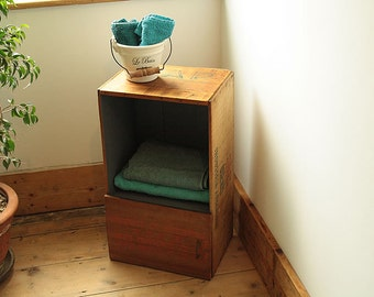 End/Side Table Floor Cabinet Made With Vintage Crate