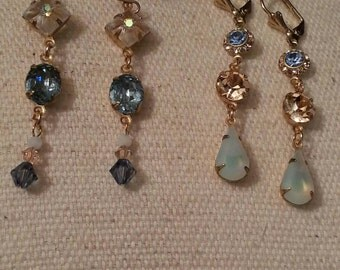 Romantic Dangle Earrings, Vintage Crystals and Prong Settings, Brass Color, Ear Wires, Blue, Peach, 2 Available