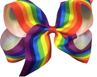 Rainbow bow - rainbow hair clip - rainbow barrette - large rainbow bow - punky brewster - gay pride accessories - unicorn