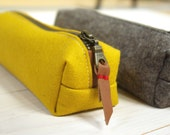 Felt pencil case - yellow and sandbrown