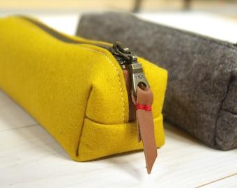 Felt pencil case - yellow and sandbrown