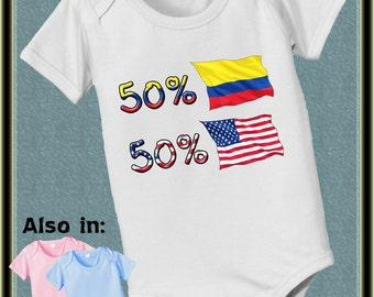 short sleeve and long sleeve 50 Colombia 50 American baby infant bodysuit baby bodysuit, baby shower gift