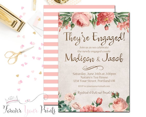 Couples Engagement Invitation - Floral Bridal Shower Invitation - Wedding Shower - Engagement Invite -  Boho Chic Shower - Bride To Be