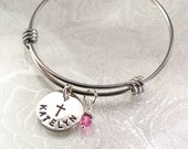 Personalized Child's Bangle Bracelet with Name and Cross - Expandable - Confirmations, Baptisms, First Communions - 3 Sizes Available