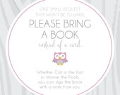 4 x 3 book cards for baby shower - owl