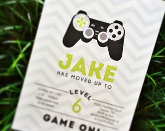 Video game birthday invitation - set of 15