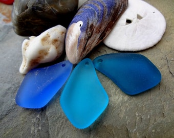 Freeform, Mixed, Irregular, Sea Glass, 20 to 35mm, Sapphire, Teal, Pacific Blue, Turquoise Bay, Priced per Piece